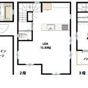 参考プラン図:建物プラン例 建物価格1200万円、建物面積99.36m2 和室を開放すれば約20帖の大空間。大容量パントリーやW.I.Cなどの収納が豊富な間取りです。